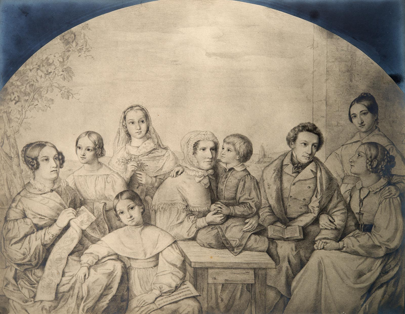 Dorothea Schlegel, surrounded by her grandchildren, her son, the painter Philipp Veit, and his wife Carolina, and her grandchildren.  Drawing by Franz Bretano © private collection.