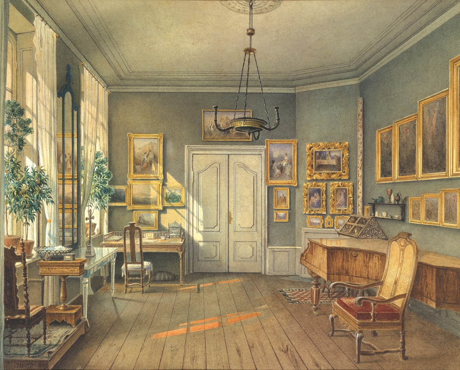 "Fanny's music room with piano, sewing table, and paintings by her husband.  Julius Helfft, ""The Music Room of Fanny Hensel,"" 1849, Cooper Hewitt, National Design Museum, New York."