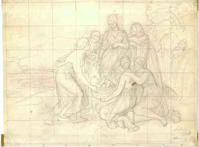 Philipp Veit: The Finding Moses, 1848, drawing © Mendelssohn Gesellschaft.